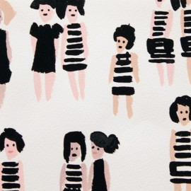 Tissu Alexander Henry Summer Stripes - Noir x 21cm