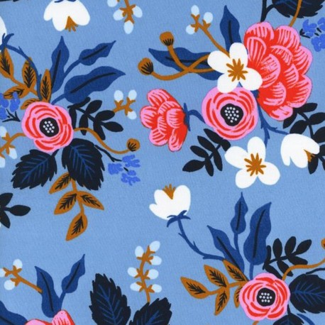 Rayon fabric Cotton Steel Rifle Paper Co. - Blue x 30cm
