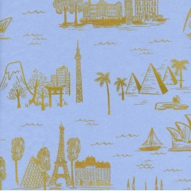 Cotton fabric Cotton Steel Rifle Paper Co.  - World travel blue  x 30cm