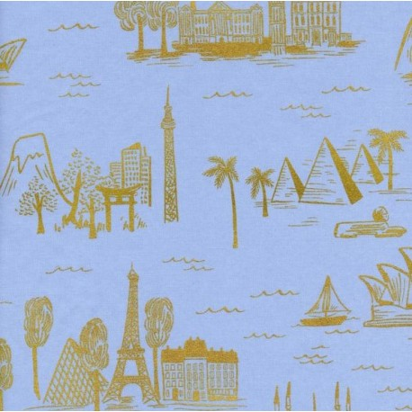 Tissu coton Cotton Steel Rifle Paper Co.  - World travel bleu x 30cm