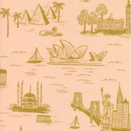 Cotton fabric Cotton Steel Rifle Paper Co.  - World travel pink  x 30cm