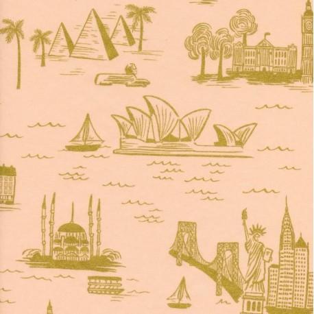 Tissu coton Cotton Steel Rifle Paper Co.  - World travel rose x 30cm