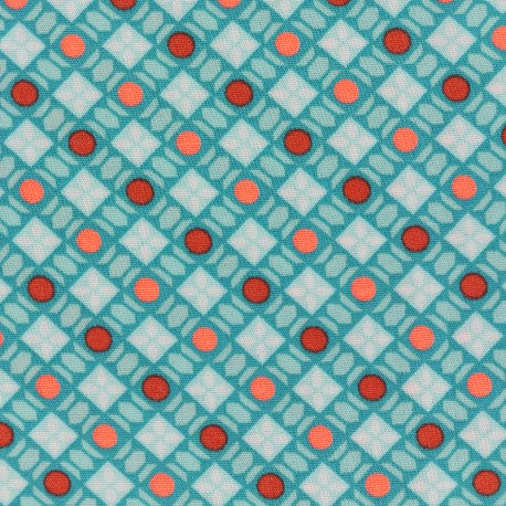 Petit pan cotton fabric Callune - turquoise x 10cm
