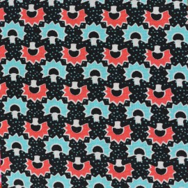 Petit pan Oeko-Tex cotton fabric Kakinoki - black x 10cm