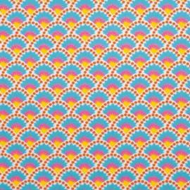 Petit pan cotton fabric Wasabi - white x 10cm