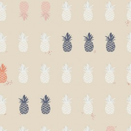Tissu Coton AGF Charleston - Ananas Beige x 26 cm