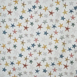 Matt coated cotton fabric Starfish - pebble x 64cm