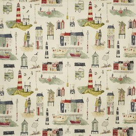 Matt coated cotton fabric Seaside - stone x 64cm
