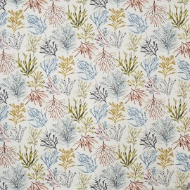 Matt coated cotton fabric Coral - tropical x 64cm