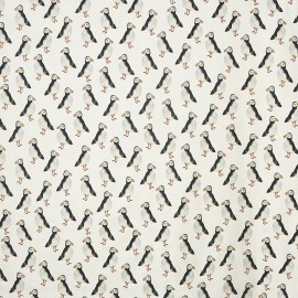 Matt coated cotton fabric Puffin - black x 64cm