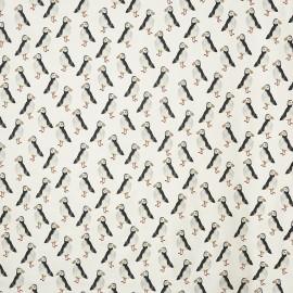 Tissu enduit coton mat Puffin - black x 64cm