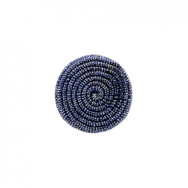 Bouton en tissu Spirale irisée - bleu nuit