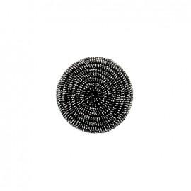 Bouton en tissu Spirale irisée - noir