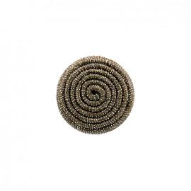 Bouton en tissu Spirale irisée - marron