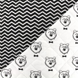 Quilted cotton fabric Topof/Tezy - white black x 10cm