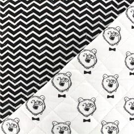 Tissu Oeko-Tex matelassé Topof/Tezy - blanc noir x 10cm