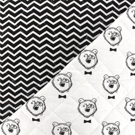 Tissu matelassé Topof/Tezy - blanc noir x 10cm