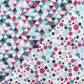 Quilted cotton fabric Trimix/Mélo - teal fuchsia x 10cm