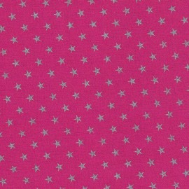 Tissu batiste Stalla fuchsia étoiles argent x 10cm