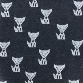 Poppy jersey fabric Fox - navy x 10cm