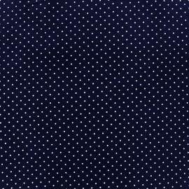 Tissu enduit coton Poppy Mini Pois - blanc/bleu nuit x 10cm
