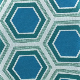 Tomette Lampas Hexagone fabric - teal x 20cm