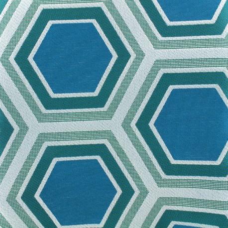 Tomette Lampas Hexagone fabric - teal x 21cm