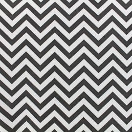 Simili cuir Zigzag - blanc noir x 10cm