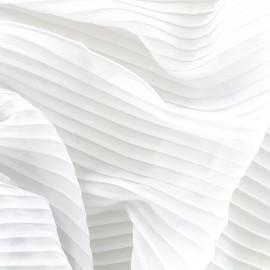 Tissu crêpe léger plissé - blanc optique x 50cm
