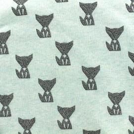 Tissu sweat léger Poppy Fox glitter - vert d'eau x 10cm