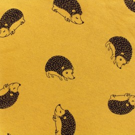 Sweat with minkee reverse side fabric Hedgehog - mustard/black x 10cm
