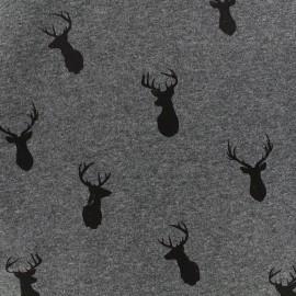 Sweat with minkee reverse side fabric Deer - dark grey/anthracite x 10cm