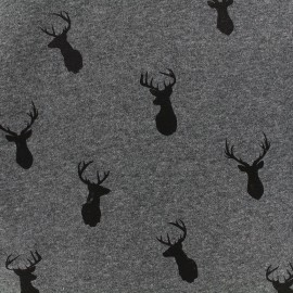 Tissu sweat envers minkee Deer - gris foncé/gris anthracite x 10cm