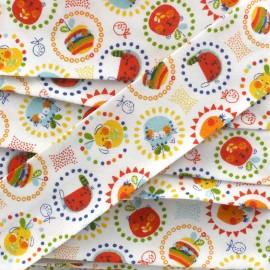 Biais Joyeuse frimousse - orange x 1m