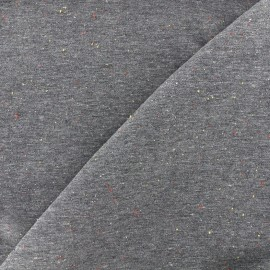 Tissu sweat moucheté - gris x 10cm