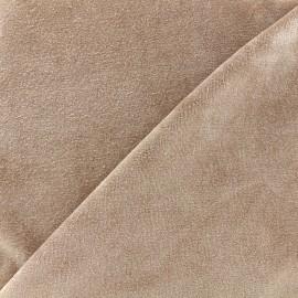 Tissu Velours éponge jersey - sable foncé x 10cm