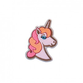 Thermocollant brodé Exquise licorne - rose/orange