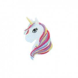 Exquise licorne Embroidered iron-on patch - blanc/yellow