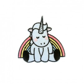Exquise licorne Embroidered iron-on patch - white/rainbow