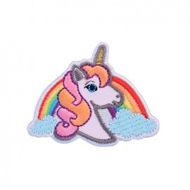 Thermocollant brodé Exquise licorne - rose/arc-en-ciel