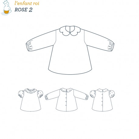 Rose Blouse L'Enfant Roi sewing pattern - From 1 month to 2 years old