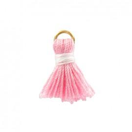 Pompon bicolore avec anneau - rose/blanc