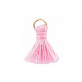 Pompon bicolore avec anneau - rose