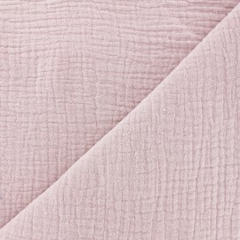 Tissu double gaze de coton MPM Oeko-tex - vieux rose x 10cm