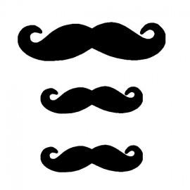 Lot de 3 moustaches velours noir