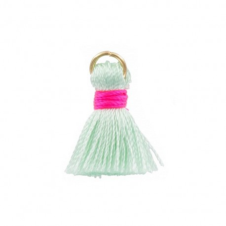 Two-colored 20mm pompom with ring - mint/fuchsia