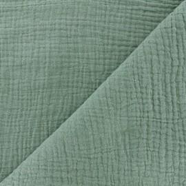 Tissu double gaze de coton MPM Oeko-tex - sarcelle céladon x 10cm