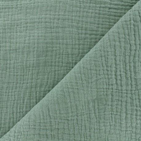 Tissu double gaze de coton MPM - sarcelle céladon x 10cm