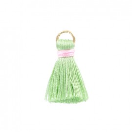 Two-colored 20mm pompom with ring - sage green/pale pink