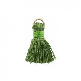 Pompon bicolore 20mm avec anneau - vert bouteille